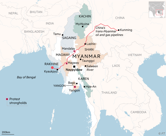 Myanmar map and China's trans-Myanmar oil and gas pipelines