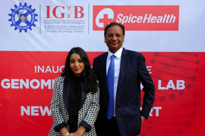 Avani Singh, chief executive of SpiceHealth, and her father Ajay Singh, owner of SpiceJet, left the group's genome sequencing lab at Indira Gandhi International Airport in New Delhi
