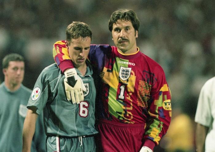 David Seaman consoles Gareth Southgate after his penalty shootout during the 1996 1996 European Championship semi-finals