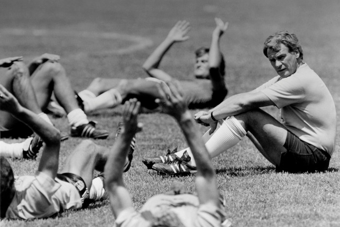 England manager Bobby Robson watches his team during training for the 1986 World Cup final in Mexico