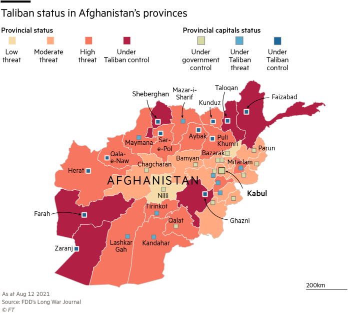 map showing Taliban status in Afghanistan on August 12, 2021