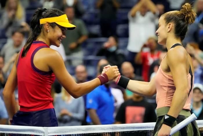 Greece's Maria Sakkari congratulates Raducanu after British player defeated her in US Open semifinals
